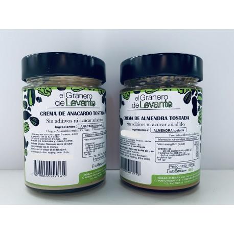 Pack Dúo: Crema de Anacardo 300g + Crema de Almendras 300g (100% NATURAL)