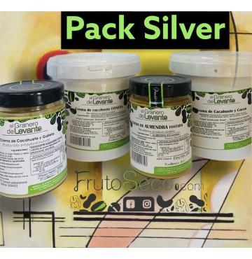 Pack Cremas Silver: Cacahuete Tostado 1kg +  Cacahuete y galleta 300g + Cacahuete y Cacao 1Kg + Coquitos de Brasil 300g