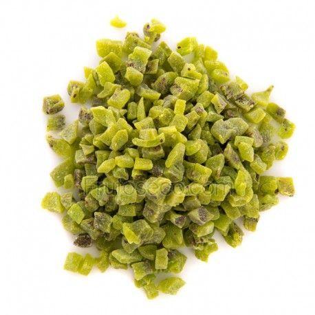 Kiwi deshidratado en dados, bandeja 250 gramos.