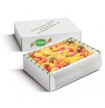 Golosinas de fruta natural, hechas en Italia, caja de 3 kilos.